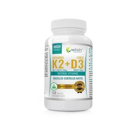 WISH Witamina K2 MK-7 Z Natto 100μg + D3 2000IU 50μg Natural Vitamins suplement diety 120 tabletek